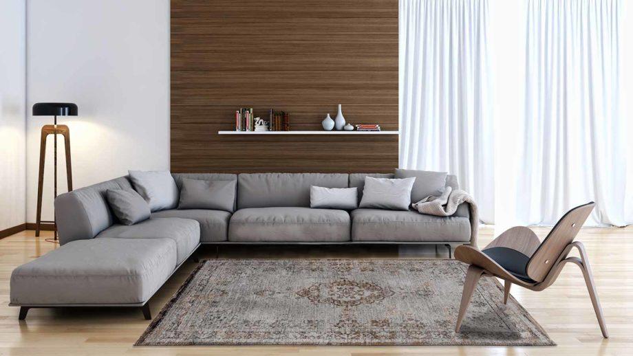 Louis De Poortere rug LX 8257 Fading World Medaillon Grey Ebony interior