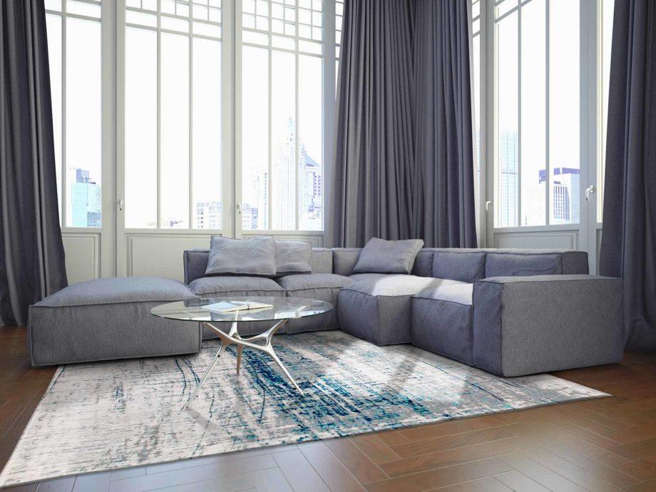 Louis De Poortere rug LX 8421 Mad Men Griff Bronx Azurite interior